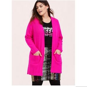 Torrid HOT PINK KNIT OPEN FRONT CARDIGAN